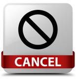 Annuleer binnen (het pictogram van het verbodsteken) wit vierkant knoop rood lint Royalty-vrije Stock Foto's