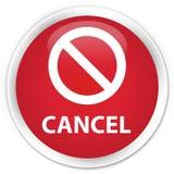 Annuleer (het pictogram van het verbodsteken) premie rode ronde knoop Royalty-vrije Stock Afbeeldingen
