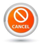 Annuleer (het pictogram van het verbodsteken) eerste oranje ronde knoop Stock Afbeeldingen