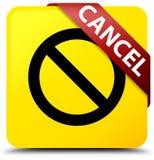 Annuleer (het pictogram van het verbodsteken) geel vierkant knoop rood lint i Stock Afbeeldingen