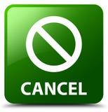 Annuleer (het pictogram van het verbodsteken) groene vierkante knoop Stock Afbeeldingen