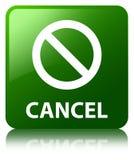 Annuleer (het pictogram van het verbodsteken) groene vierkante knoop Stock Foto's