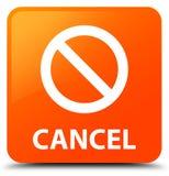 Annuleer (het pictogram van het verbodsteken) oranje vierkante knoop Stock Afbeelding