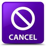 Annuleer (het pictogram van het verbodsteken) purpere vierkante knoop Stock Foto's