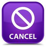 Annuleer (het pictogram van het verbodsteken) speciale purpere vierkante knoop Royalty-vrije Stock Afbeeldingen