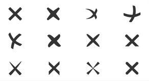 Annullering kors, radering, borttagningssymbolsuppsättning Arkivfoto