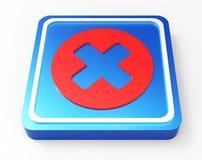 Annulli il bottone rosso e blu 3D Fotografie Stock Libere da Diritti