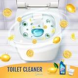 Annunci del gel del pulitore della toilette di fragranza dell'agrume Vector l'illustrazione realistica con la vista superiore del Fotografia Stock