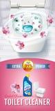 Annunci del gel del pulitore della toilette di fragranza dell'orchidea Vector l'illustrazione realistica con la vista superiore d Fotografia Stock