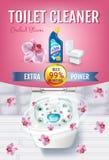Annunci del gel del pulitore della toilette di fragranza dell'orchidea Vector l'illustrazione realistica con la vista superiore d Fotografie Stock