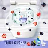 Annunci del gel del pulitore della toilette di fragranza della bacca Vector l'illustrazione realistica con la vista superiore del Immagini Stock Libere da Diritti