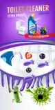 Annunci del pulitore della toilette di fragranza delle bacche Germi più puliti di uccisione dei pesi dentro la ciotola di toilett Fotografia Stock Libera da Diritti