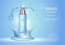 Annunci del toner del ghiaccio con la spruzzata dell'acqua blu Spruzzi la bottiglia e le gocce scintillanti fresche, 3d realistic Immagini Stock Libere da Diritti