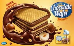 Annunci del wafer del cioccolato illustrazione di stock