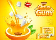 Annunci della gomma dell'agrume Fondo di versamento di vettore del succo d'arancia illustrazione di stock