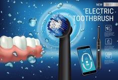 Annunci dello spazzolino da denti elettrico Vector l'illustrazione 3d con la spazzola vibrante ed il app dentario mobile sullo sc Fotografie Stock Libere da Diritti