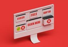 Annunci fastidiosi di pop-up sullo schermo di computer rappresentazione 3d royalty illustrazione gratis