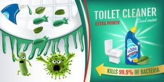 Annunci freschi del pulitore della toilette di fragranza della menta Germi più puliti di uccisione dei pesi dentro la ciotola di  Immagini Stock