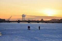 Annunciation γέφυρα στο ηλιοβασίλεμα το χειμώνα Στοκ εικόνα με δικαίωμα ελεύθερης χρήσης