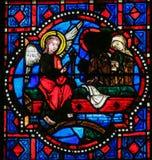 Annunciation - λεκιασμένο γυαλί στον καθεδρικό ναό γύρων Στοκ εικόνα με δικαίωμα ελεύθερης χρήσης