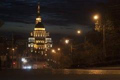 Annunciation καθεδρικός ναός σε Kharkiv αργά τη νύχτα Στοκ Εικόνες