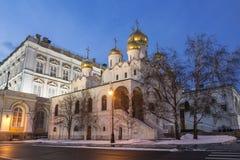 Annunciation καθεδρικός ναός της Μόσχας Κρεμλίνο το χειμερινό βράδυ, Στοκ εικόνα με δικαίωμα ελεύθερης χρήσης