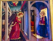 Annunciation Angel Mary Painting Santa Maria Novella Church Florence Italy. First Church in Florence founded 1357 stock images