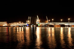 Annunciation bridge in the night in Saint Petersburg, Russia Royalty Free Stock Photography