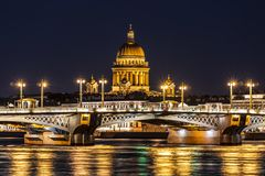 Annunciation bridge, overlooking St. Isaac`s Cathedral during the white nights. St. Petersburg Royalty Free Stock Images