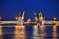 Annunciation Bridge and the River Neva Stock Photos