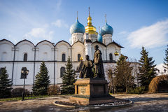 Annunciation Cathedral of the Kazan Kremlin. On a background of blue sky Stock Image