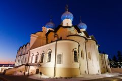Annunciation Cathedral of the Kazan Kremlin. Kazan, Russia. Night view of illuminated Cathedral of the Annunciation with clear blue sky in Kazan Kremlin Stock Image