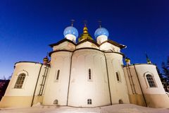 Annunciation Cathedral of the Kazan Kremlin. Kazan, Russia. Night view of illuminated Cathedral of the Annunciation with clear blue sky in Kazan Kremlin Stock Images