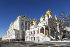The Annunciation Cathedral of the Moscow Kremlin on a Sunny winter day Royalty Free Stock Photo