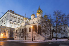 Annunciation Cathedral of the Moscow Kremlin in winter evening, Royalty Free Stock Image