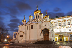 Annunciation Cathedral of the Moscow Kremlin in the winter evening Royalty Free Stock Photo