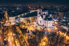 Annunciation Cathedral on Revolution Avenue in Voronezh city, Russia in night time, aerial view from drone.  royalty free stock photos