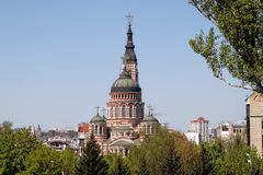 Annunciation Cathedral in Kharkiv, Ukraine. The Annunciation Cathedral 1901 in a sunny spring day in Kharkiv, Ukraine Royalty Free Stock Images