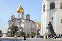 The annunciation cathedral and Tzar bell. MOSCOW, RUSSIA - SEPTEMBER 07, 2014: The annunciation cathedral and tsar bell in Moscow Kremlin Stock Photos