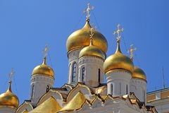 Annunciation domes. The golden domes of the annunciation cathedral in the kremlin fort at moscow in russia Royalty Free Stock Photo