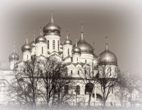 Annunciation and the Dormition Cathedral of the Moscow Kremlin. Stock Image