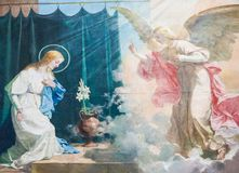 Annunciation Fresco in the Basilica of Valencia. Fresco of the Virgin Mary and the Archangel Gabriel at the Annunciation, in the Basilica of Valencia, Spain stock photography