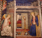 Annunciation (fresco). A photo of the annunciation: Gabriel and Mary royalty free stock photo