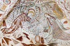 Annunciation Fresk w Duńskim kościół Fotografia Royalty Free
