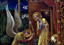 Annunciation. Gabriel , the dove and Mary Stock Image