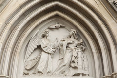 The Annunciation. Gothic relief in Olomouc Cathedral. Royalty Free Stock Photos