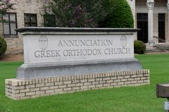 Annunciation Greckokatolickiego kościół znak, Memphis, TN Fotografia Stock