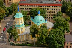 Annunciation of Our Most Holy Lady Church. In the city of Riga, capital of Latvia, view from above Royalty Free Stock Photo