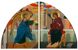 The Annunciation. The plot of the Annunciation is depicted on icons with a sash of the Royal Doors Royalty Free Stock Photo