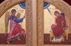 The Annunciation scene on the door to presbytery in st. Constanstine and Helena orthodox church Stock Photography